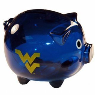 NCAA West Virginia Mountaineers Clear Plastic Piggy Bank