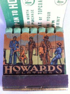 Vtg Feature Matchbook Howard's Clothes, Suits, Coats, St. Paul, Minn