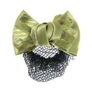 Rosallini Nylon Striped Olive Green Bow Barrette Hair Clip