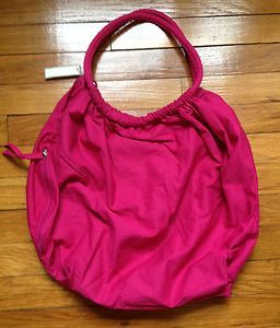NEW HOT PINK FABRIC BUBBLE BAG BEACH SWIM SUMMER TOTE PURSE FULLY
