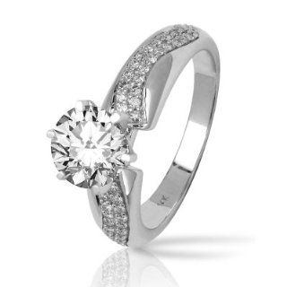 Two Rows Of Pave set Round Diamonds Engagement Ring with a 0.84 Carat