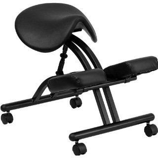 Black Vinyl Saddle Seat Knee Kneeling Task Office Backless