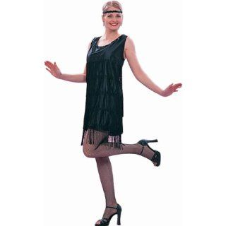 Ladies Roaring 20s Black Flapper Dress Costume: Clothing
