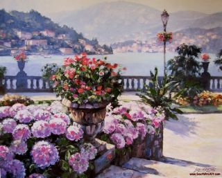 On Lake Como Howard Behrens Embellished Canvas Italy