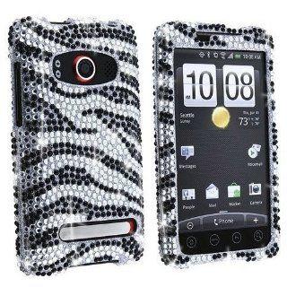 SODIAL  Black Zebra Skin Diamante Protector Faceplate