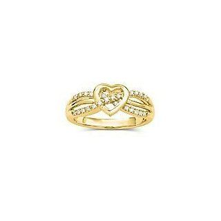 14kt Gold Heart Promise Ring with Diamond Accents   Size 6