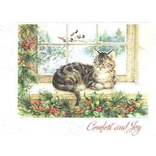 Maine Coon Cat Christmas Card Winter Snooze Home