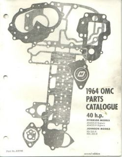 1964 OMC Evinrude Johnson 40 HP Outboard Parts Catalog