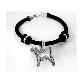 Beagle Simple Rubber Bracelet with Sterling Silver Charm