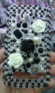 Black Flower Rhinestone Bling Back Cover Phone Case for HTC Sprint EVO