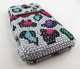 Funky Leopard Rhinestone Bling Hard Case Cover HTC EVO 4G LTE Phone