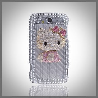 HTC myTouch 4G 3D Gold Metal Hello Kitty Bling Rhinestone Silver Case