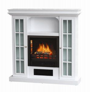 Fireplace Portable Heat Wall Stove White Wood Cabinet New