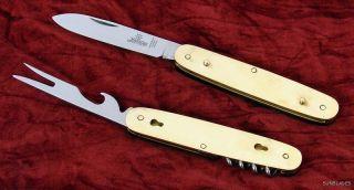 Hubertus Knife Buffalo Horn Folding Hunting German Hobo Picnic Fork