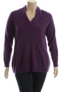 Charter Club New Purple Cashmere V Neck Shawl Collar Pullover Sweater