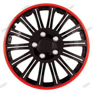 Set of 4 15 Black Red Hubcaps Center Hub Caps Wheel Rim Covers Free