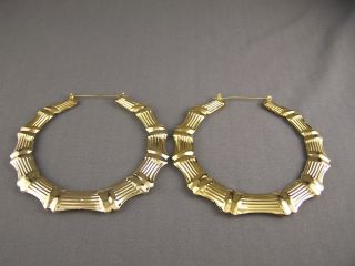Gold Tone Big Huge XXL Hoops Bamboo Earrings 4 Door Knocker Hoop