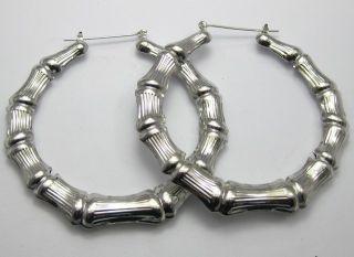 Pairs Big Silver Tone Bamboo Hoop Earrings 70mm 2 8