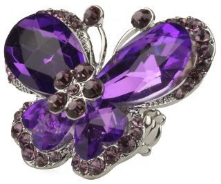 Large Purple Crystal Stone Butterfly Stretch Bling Ring