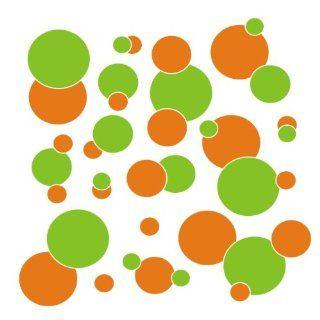 set of 106 Orange and Lime Green polka dots Vinyl wall