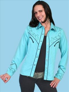 PL 739 Scully Western Cowgirl Shirt XXL Studded Cross Turquoise