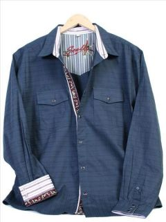 PS 089 Scully Western Steam Rock Shirt Large Blue
