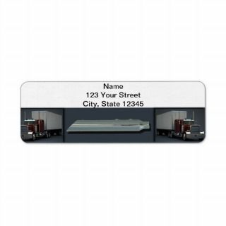 Semi Trucks on Steel Colored Custom Return Address Label