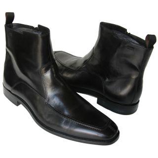 HUGO BOSS Black Ankle Dress Zipper Mens Boots 13 46 UK 12 Moccasin Toe