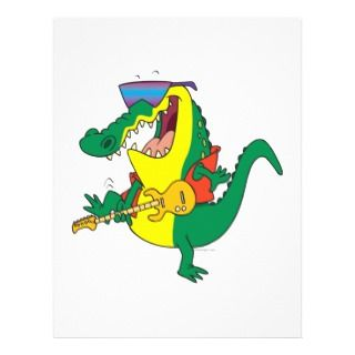 funny rock and roll crocodile music cartoon personalized flyer