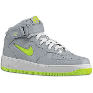 Nike Air Force 1 Mid   Mens   Basketball   Shoes   Wolf Grey/Volt