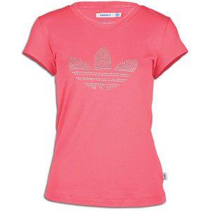 adidas Originals Rhinestone Logo S/S T Shirt   Womens   Super Pink