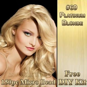 20 Remy Human Hair Extensions 150pc MICRO BEAD I TIP DIY KIT 60 Blonde