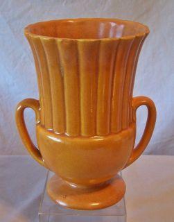 Vintage Hull Pottery Orange Drip Mid Century Modern Two Handle Vase