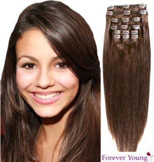 Medium Brown Clip in Human Hair Extension Full Head 4