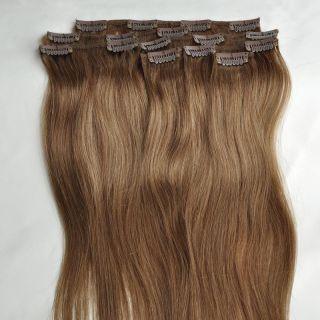 40cm 7pcs Clip in Real Human Hair Extensions 8 Medium Brown 70g