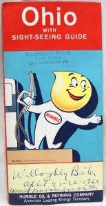Humble Oil Ohio Auomobile Highway Road Map 1962 Vinage ravel Gas