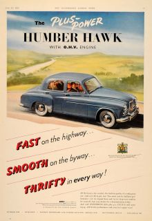1955 Ad Humbler Hawk Blue British Car Automobile Rootes   ORIGINAL