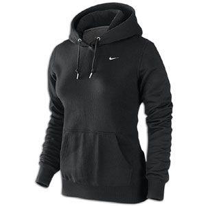Nike Classic Fleece Swoosh Pullover Hoodie   Womens   Black/White