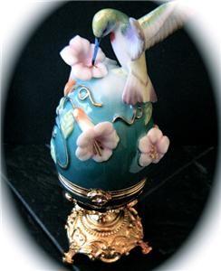 Franklin Mint Faberge Egg Ruby Throated Hummingbird Treasure Box COA