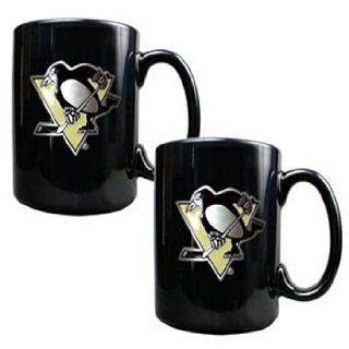 Pittsburgh Penguins Nhl 2Pc Black Ceramic Mug Set