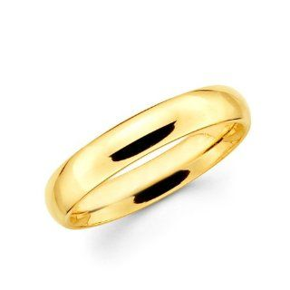 14k Yellow Gold COMFORT FIT wedding Band Ring Plain style 4 mm
