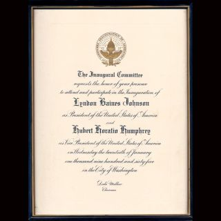 1965 Inaugural Invitation L B Johnson and HH Humphry