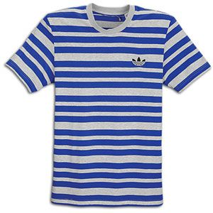 adidas Originals Three Stripe Crew S/S Knit   Mens   Light Grey
