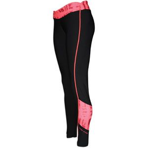 Under Armour Print Blocked Coldgear Fitted Tight   Womens   Black/Neo