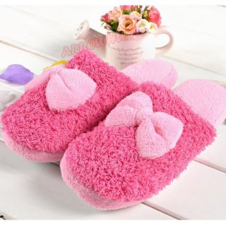 Lovely Korean Girls Winter Furry Cute Bow Slipper House Shoes Warm