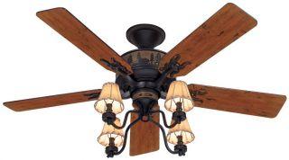Hunter 52 Ceiling Fan Light Rustic Motif Brittany Bronze HR 20715