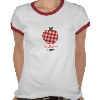 Kindergarten Teacher Shirt   Red Gingham Apple