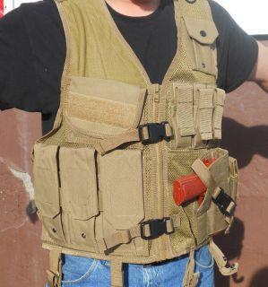 Tan Crossdraw Tatical Vest Hunting Fishing Military Paintball Airsoft