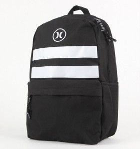 Hurley Block Party Black White Stripe Backpack Book Bag New