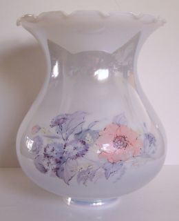 Large Vtg White Hurricane Lamp Shade Luster Floral Huge